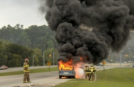Waverly firefighters at scene of car fire