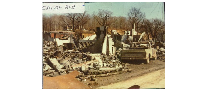 Destroyed building near Ground Zero - Waverly Tanker Car Explosion