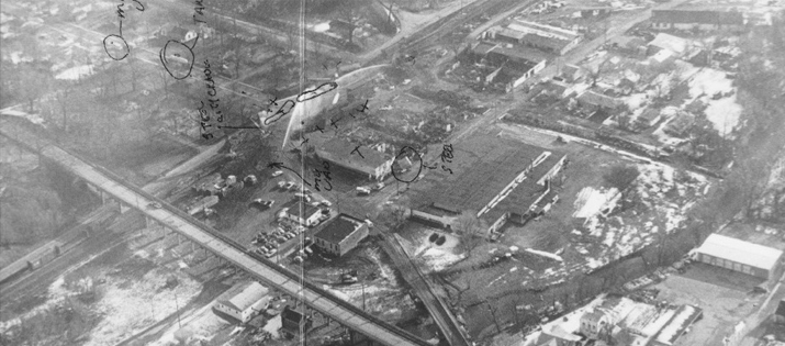 Late aerial view after the fires - Waverly Tanker Car Explosion