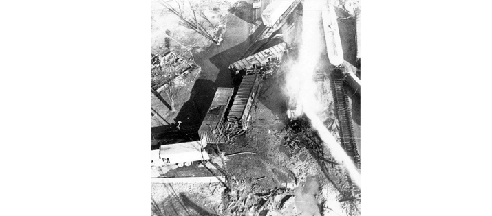 Overhead view of the tank cars - Waverly Tank Car Explosion