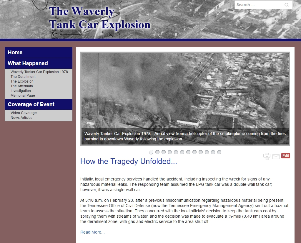 Web Site for Waverly Disaster Created